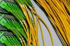 Fiber optic cables on the patch panel in the telecommunications cabinet transmit data on the IP protocol. Fiber optic cables on the patch panel in the stock photos