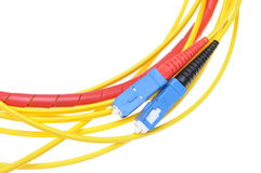 Fiber optic cables type sc Royalty Free Stock Photo