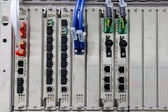 Fiber optic communication device, LAN, SDH. Lan cable plug in to Fiber optic communication device, LAN, SDH Royalty Free Stock Photo