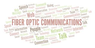 Fiber Optic Communications word cloud. Wordcloud made with text only royalty free illustration