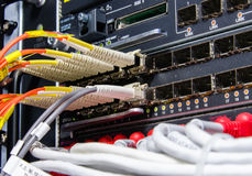 Fiber Optic connect to L3 Switch Royalty Free Stock Images