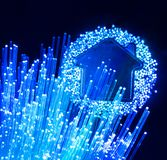 Fiber optic connection to housefiber optic connection to house Royalty Free Stock Images