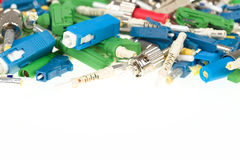 Fiber optic connectors. Various types of fiber optic connectors with space for text Stock Image