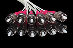 Fiber optic connectors on the black background Royalty Free Stock Image