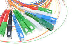 Fiber optic connectors and cables Stock Photos