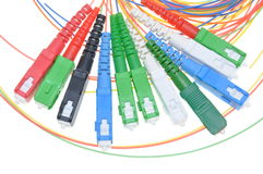 Fiber optic connectors and cables Stock Images