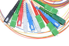 Fiber optic connectors and cables Royalty Free Stock Photos