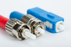 Fiber optic connectors, ST, SC and FC. On white background Stock Images