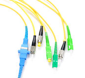 Fiber optic connectors, used fiber optic cables which is respons Royalty Free Stock Images