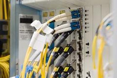 Fiber optic datacenter with media converters Royalty Free Stock Photography