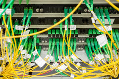 Fiber optic datacenter with media converters Stock Images