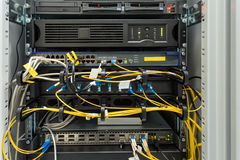 Fiber optic datacenter with media converters Royalty Free Stock Image