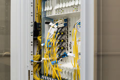 Fiber optic datacenter with media converters Stock Photos