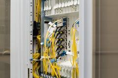 Fiber optic datacenter with media converters Stock Photos