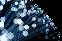 Fiber optic emitting blue light Royalty Free Stock Photography