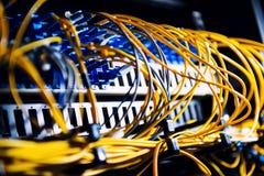 Fiber-optic equipment. In a data center royalty free stock image