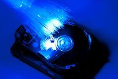 Fiber optic and hard disc Stock Image