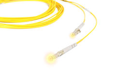 Fiber optic patch cord with lighting effect Royalty Free Stock Photo