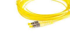 Fiber optic patch cord on white background Stock Images