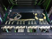 Fiber optic patch panel installation.  royalty free stock photo