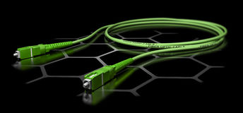 Fiber Optic Patchcord Cable. 3D illustration of a green fiber optic patch cord over black background. Broadband network equipment Stock Photography