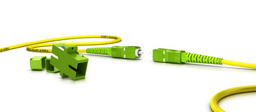 Fiber Optic Patchcord Over White. Close up of a fiber optic patchcord over white background Stock Image