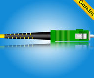 Fiber optic SC connector. On blue background Stock Images