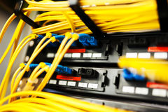 Fiber optic with servers Royalty Free Stock Images