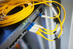 Fiber optic with servers Royalty Free Stock Photos