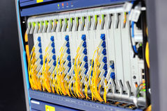 Fiber optic with servers in a technology data center Stock Images