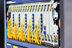 Fiber optic with servers in a technology data center Royalty Free Stock Photos