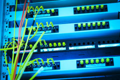 Fiber optic with servers in a technology data center Stock Image