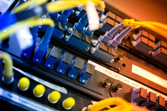 Fiber optic with servers in a technology data center Stock Photo