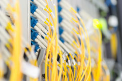fiber optic with servers in a technology data center Royalty Free Stock Image