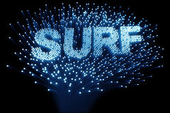 Fiber optic - surf. 3d rendering of optic fibers forming the word surf Stock Photography