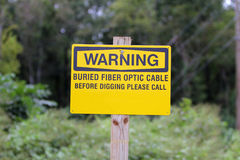 Fiber optic warning sign Royalty Free Stock Photography