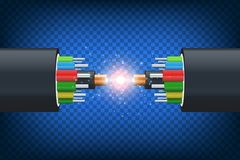 Fiber optical cable. Illustration isolated on blue background. Graphic concept for your design Stock Photo