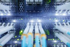Fiber Optical connector interface. multiple exposure. Supercomputer data center. Fiber Optical connector interface. multiple exposure. Information Technology Stock Photo