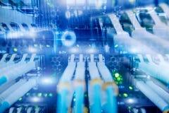 Fiber Optical connector interface. multiple exposure. Supercomputer data center. Fiber Optical connector interface. multiple exposure. Information Technology Stock Photos