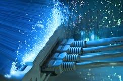 Fiber optical hub background Stock Photos