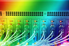 Fiber optical network cables patch panel Royalty Free Stock Photography