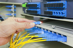 Fiber optical network cables patch panel Royalty Free Stock Image