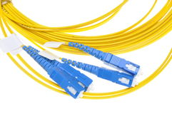 Fiber optical patch cord plugs Royalty Free Stock Photo