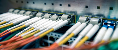 Fiber optical switch with cables Royalty Free Stock Photography