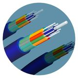 Fiber optics cable technology set in circle vector illustration. Fiber optics cable technology set in circle. Important items in telecommunication used to help Royalty Free Stock Photo