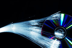 Fiber optics and compact disc Stock Image