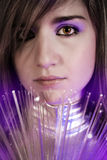 Fiber optics concept, future woman with silver lights Stock Image