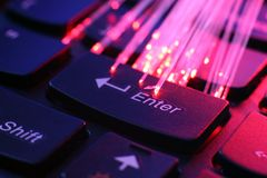 FIber optics on keyboard Royalty Free Stock Photo
