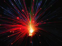 Fiber optics lights. At night, closeup Royalty Free Stock Images