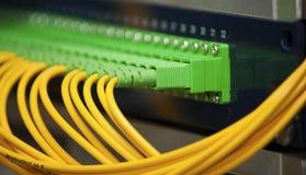 Fiber optics panel. Yellow and green fiber optics panel Stock Photography